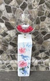 Kerzenständer Holz handmade für Balkon und Terrasse ,inkl Gläser,Teelichter und Granulat -  Vogel mit Blumen - Handarbeit kaufen