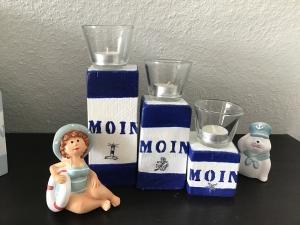 Kerzenständer 3teilig maritim Holz handmade für Balkon und Terrasse ,inkl Gläser,Teelichter - Moin blau - Handarbeit kaufen