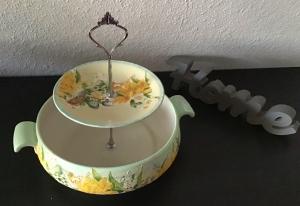 Etagere ♥ Porzellan  ♥️ Neu gestaltet ♥ upcycling ♥ Unikate - Blumen gelb - Handarbeit kaufen