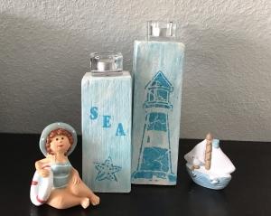 Kerzenständer 2teilig Holz handmade für Balkon und Terrasse ,inkl Gläser,Teelichter - Leuchtturm türkis - Handarbeit kaufen