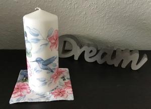 Kerze weiß ♥ Einzigartig♥ Geschenk ♥ upcycling ♥ Unikat  -  Vogel blau - Handarbeit kaufen