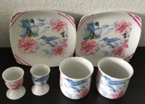 Kaffee Set  ♥ 6teilig ♥️  Einzigartig♥ Geschenk ♥ upcycling ♥ Unikat  -  Vogel blau   - Handarbeit kaufen