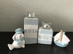 Kerzenständer 2teilig klein  Holz handmade für Balkon und Terrasse ,inkl Gläser Teelichter - Moin Vintage blau - Handarbeit kaufen