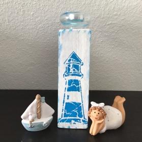 Kerzenständer Holz handmade für Balkon und Terrasse ,inkl Glas Teelicht - Leuchtturm ozeanblau - Handarbeit kaufen