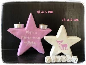 2 er Set Weihnachtssterne ♥ Beton ♥️ Geschenk ♥ Unikat - rosa / weiß - Handarbeit kaufen