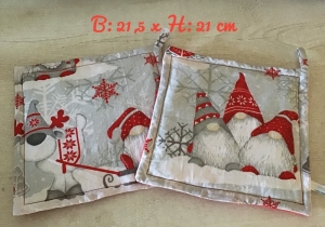 Topflappen Set ❤️ Geschenk ❤️ Weihnachten ❤️ Unikat -  Wichtel rot
