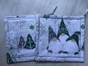 Topflappen Set ❤️ Geschenk ❤️ Weihnachten ❤️ Unikat -  Wichtel grün - Handarbeit kaufen