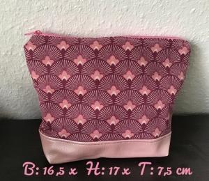 Kulturtasche  ❤️ Kosmetiktasche ❤️ Geschenk  ❤️ Unikat -  Rosa Fächer - Handarbeit kaufen
