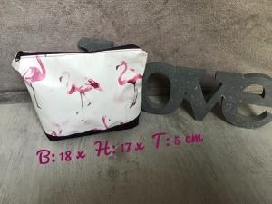Kulturtasche  ❤️ Kosmetiktasche ❤️ Schminktasche ❤️ Geschenk  ❤️ Unikat - Flamingo  - Handarbeit kaufen