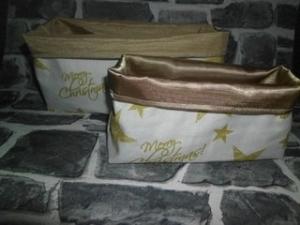 2er Set Utensilo  ❤️ Stoffbox ❤️ Aufbewahrung ♥️ Geschenk ❤️ Unikat - Weihnachten Gold