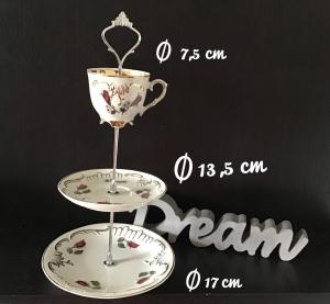 Etagere ♥ Porzellan  ♥️ Oma ´s Geschirr ♥ Vintage ♥ Unikate - Röschen - Handarbeit kaufen