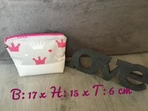Kulturtasche  ❤️ Kosmetiktasche ❤️ Schminktasche ❤️ Prinzessinnen  ❤️ Unikat -  Kronen - Handarbeit kaufen