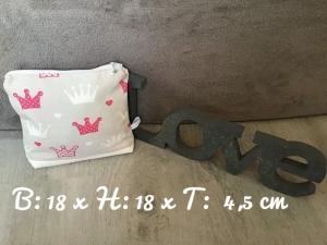 Kulturtasche  ❤️ Kosmetiktasche ❤️ Schminktasche ❤️ Prinzessinnen  ❤️ Unikat - Krone 2 - Handarbeit kaufen