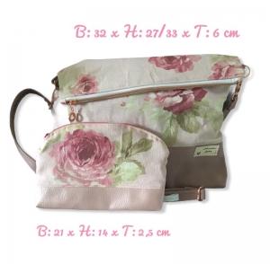 Fold Over  ❤️ Umhängetasche ❤️ Schminktasche ❤️ 2er Set  ❤️ Unikat -  Rosa Rosen - Handarbeit kaufen