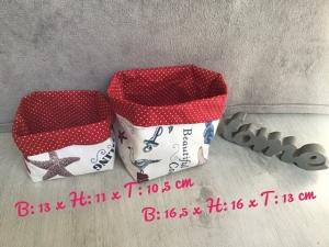 2er Set Utensilo  ❤️ Aufbewahrung ♥️ Geschenk ❤️Maritim ❤️ Unikat - rot - Handarbeit kaufen