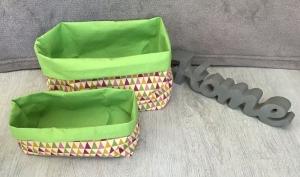 2er Set Utensilo  ❤️ Aufbewahrung ♥️ Geschenk  ❤️ Unikat - Dreiecke grün - Handarbeit kaufen