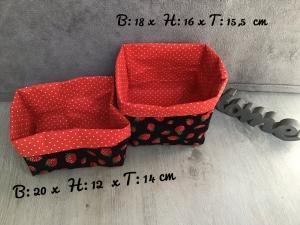 2er Set Utensilo  ❤️ Aufbewahrung ♥️ Geschenk  ❤️ Unikat - Erdbeeren schwarz - Handarbeit kaufen