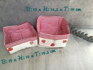 2er Set Utensilo  ❤️ Aufbewahrung ♥️ Geschenk  ❤️ Unikat - Erdbeeren weiß - Handarbeit kaufen