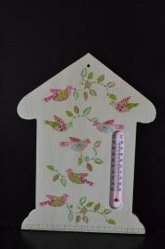 Dekoratives Thermometer in Form eines Hauses * Geschenk * Unikat - Vögel - Handarbeit kaufen