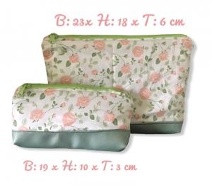 2er Set ❤️ Kulturtasche  ❤️ Kosmetiktasche ❤️ Schminktasche ❤️ Unikat-  Rosen apricot - Handarbeit kaufen