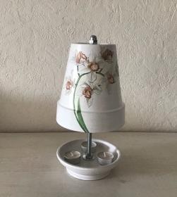 Teelichtofen XXL ❤️ Teelichtkamin  für Balkon und Terrasse  , inkl 3 Teelichter - Blumenstrang - Handarbeit kaufen