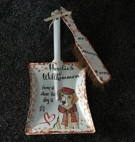 Kehrbesen Set ♥ handmade ♥️ einzigartiges Geschenk ♥️ Unikat - Hund  Spruch - Handarbeit kaufen