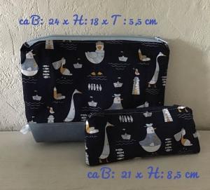 2er Set ❤️ Kulturtasche  ❤️ Kosmetiktasche ❤️ Schminktasche ❤️ Unikat- Enten Hellblau - Handarbeit kaufen