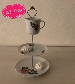 Etagere ♥ Porzellan  ♥️ Oma ´s Geschirr ♥ Vintage ♥ Unikate - Rose rosa - Handarbeit kaufen