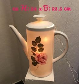 Beleuchtete Kaffeekanne  ♥ Einzigartig♥ Geschenk ♥ Vintage ♥ Unikat  - Rose  rosa