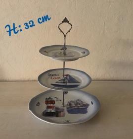 Etagere ♥ Porzellan  ♥️ Neu gestaltet ♥ upcycling ♥ Unikate - Maritim Leuchtturm - Handarbeit kaufen