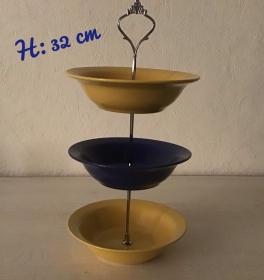 Etagere ♥ Porzellan  ♥️ Oma ´s Geschirr  ♥ vintage ♥ Neu  Unikate - gelb-blau-gelb - Handarbeit kaufen