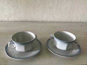 2 Suppen Gedecke ♥4-teilig ♥️ Porzellan  ♥️ Oma ´s Geschirr  ♥ vintage ♥ Neu - Blau  - Handarbeit kaufen