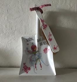 Kehrbesen Set ♥ handmade ♥️ einzigartiges Geschenk ♥️ Unikat -  Elfe Fee rosa - Handarbeit kaufen