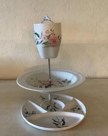 Etagere ♥ Porzellan  ♥️ Neu gestaltet ♥ upcycling ♥ Unikate - Rose apricot 2 - Handarbeit kaufen