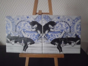 Dekofliese ♥ Untersetzer 2er Set ♥️ Einzigartig♥ Geschenk  ♥ upcycling ♥ Unikat - Katzen schwarz