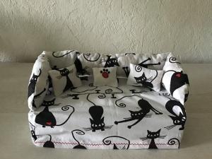 Deko-Sofa ❤️ Kosmetikbox Sofa ❤️ Taschentücherbox Sofa ❤️ Unikat -  Katzen klein - Handarbeit kaufen