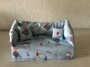 Deko-Sofa ❤️ Kosmetikbox Sofa ❤️ Taschentücherbox Sofa ❤️ Unikat - maritim hellblau Enten - Handarbeit kaufen