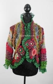 Farbenfrohe wärmende Hippie Häkel Jacke