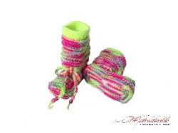 Baby Boots - Baby Stiefel handgestrickt neon My first socks