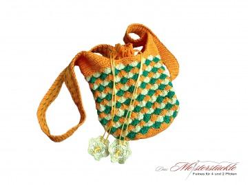 Beuteltasche Häkel-Tasche Umhängetasche orange grün gelb