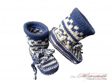 Eco-Baumwolle Baby Boots Babysocken gestrickt blau weiß