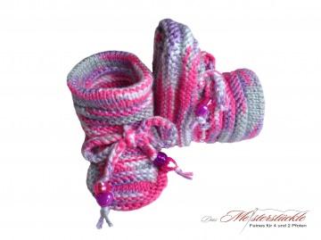 handgestrickte Babyschuhe Sommerstiefel Erstlingsschuhe rosa grau flieder myfirstsocks