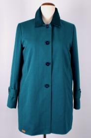 Petrol farbende Damen Herbst Mantel in Schlichter Paßform