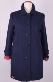 Dunkel blauer Damen Kurz Mantel aus Canvasstoff