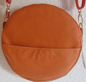 Handarbeit! Circle Bag, runde Ledertasche aus Rindsnappa, Echtleder, Crossbag, Umhängetasche, Ledertasche - Handarbeit kaufen