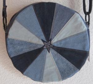 Runde Tasche Jeans Upcycling, Circle Bag, Torte, blau, Handarbeit - Handarbeit kaufen