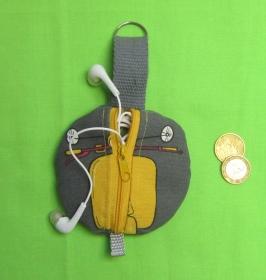 Rundes Täschchen, Kopfhörer Tasche, Geldbeutel rund, Schlüssel Mäppchen, Etui, 4 Motive zur Wahl, Handarbeit - Handarbeit kaufen
