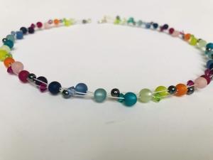 handgefertigte Polariskette Regenbogen Kette bunt Collier Halskette mit Polarisperlen Polariskette mit Kristall - Handarbeit kaufen