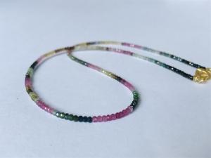 handgefertigte Turmalinkette, Collier, bunt, Rondelle 3x2 mm, mit goldenem Ring-Ring Verschluss - Handarbeit kaufen