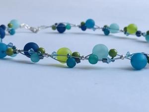 handgefertigte Polariskette maritime Kette blau-grün Collier Halskette mit Polarisperlen mit Kristall